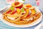 Crepes With Sliced Peaches and Ricotta